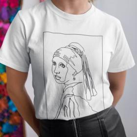 T-shirt koszulka Dziewczyna z perłą Vermeer Line Art