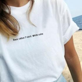 T-shirt koszulka napis Basic cotton T-shirt. White color.