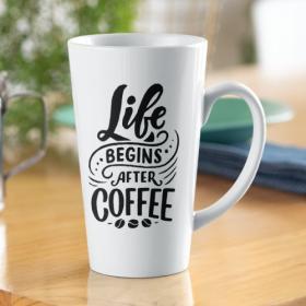 Kubek Ceramiczny XL Latte Life Begins After Coffee