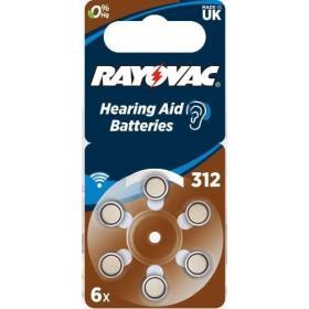 6x Baterie do aparatów słuchowych RAYOVAC 312 PR41