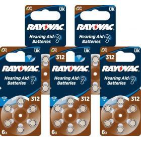 30x Baterie do aparatów słuchowych RAYOVAC 312