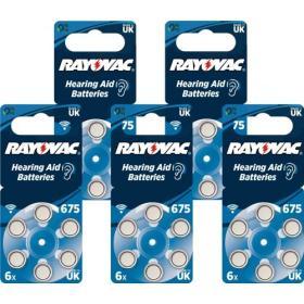 30x Baterie do aparat słuchowych RAYOVAC NOWE 675