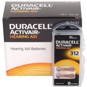 60x Bateria Słuchowa DURACELL 312 PR41 347 ZINCair