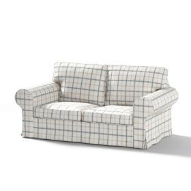 Dekoria.pl Pokrowiec na sofę Ektorp 2-osobową rozkładaną, model po 2012, ecru tło, niebieska kratka, 200 x 90 x 73 cm, Avinon