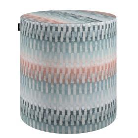 Dekoria.pl Puf Barrel, niebiesko-łososiowy geometryczny wzór, ø40, wys. 40 cm, do -50%