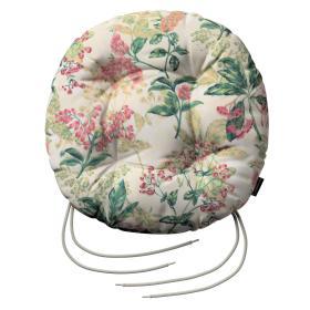 Dekoria.pl Siedzisko Adam na krzesło, różowo-beżowe rośliny na tle ecru, fi 40 × 8 cm, Londres