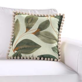 Dekoria.pl Poszewka Wera na poduszkę, brązowo-pomarańczowe liście na szarym lnianym tle, 45 × 45 cm, Abigail