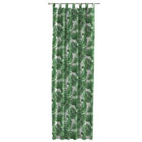 Dekoria.pl Zasłona na szelkach 1 szt., zielone liście na białym tle, 1szt 130 × 260 cm, Tropical Island
