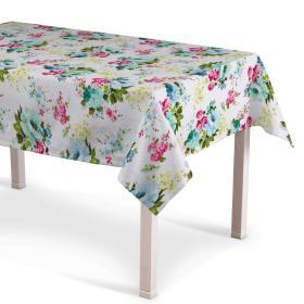 Dekoria.pl Obrus prostokątny, niebiesko-różowe kwiaty na białym tle, 130 × 160 cm, do -50%