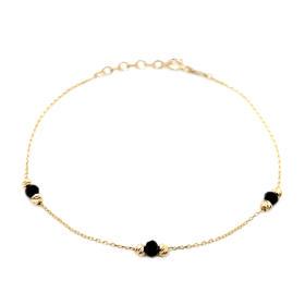 Bransoletka celebrytka złota czarne kamienie FUG5549-96515