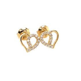 Kolczyki złote serca z cyrkoniami FUG7-25-K00396-2