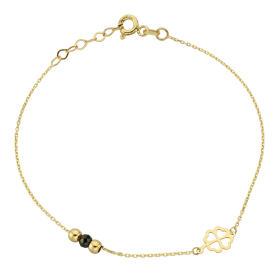 Bransoletka złota koniczyna i kulki FUG2-21-B00431-2