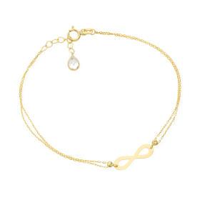 Bransoletka złota nieskończoność na podwójnym łańcuszku FUG2-4-B00458-2