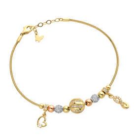 Bransoletka złota kulkowa z zawieszkami serce i nieskończoność FUG2-4-B00473-2