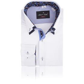 Koszula męska O20B SLIM FIT biała z niebiesko-granatowymi elemantami